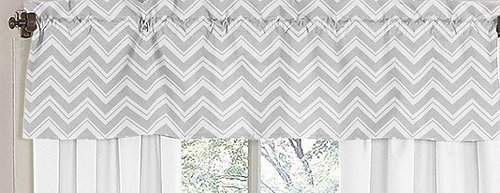 Window Valance for Yellow and Gray Chevron Zig Zag Bedding