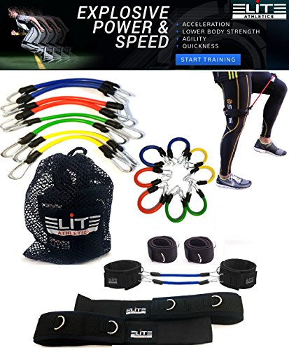11 Piece Speed Agility Strength Kinetic Leg Resistance Bands- Fitness Exercise Bands, complete set for Soccer Kick Boxing Basketball Football all Sports Training, Official Elite Athletic Bands by Elite Supplies