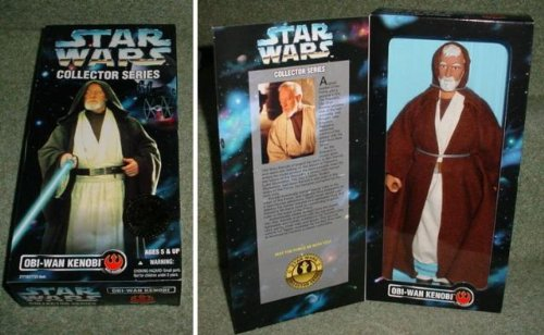 Kenner Year 1997 Star Wars 12 Inch Tall Fully Poseable Figure with Authentically Styled Outfit and Accessories : Obi-wan Kenobi with Hooded Robe and Lightsaber