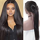 Fantasy Beauty Hair Straight 360 Lace Frontal Wig with Baby Hair Human Hair Wigs 150% Density 360 Wigs Pre Plucked 360 Lace Wig for High Ponytail Updo 20 Inches Natural Color
