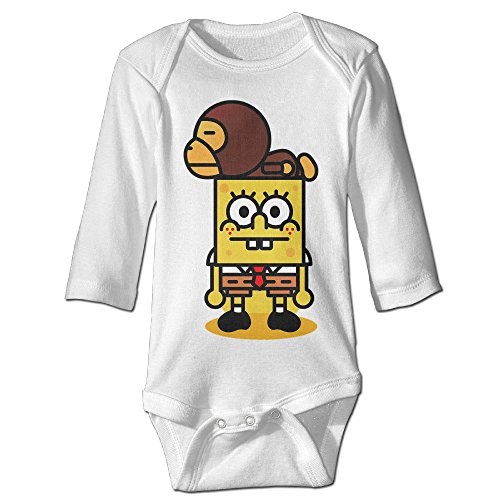 [PGiG Baby's Spongebob And Baby Milo Hanging Bodysuit Romper Playsuit Outfits Clothes Climbing Clothes Long Sleeve] (Spongebob Outfit)