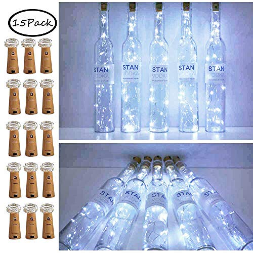 15 Pack 15 LED Bottle Cork String Lights, Wine Bottle Fairy Mini String Lights Copper Wire, Battery Operated Starry Lights for DIY, Christmas, Halloween, Wedding, Party, Indoor&Outdoor (Cool White) ()