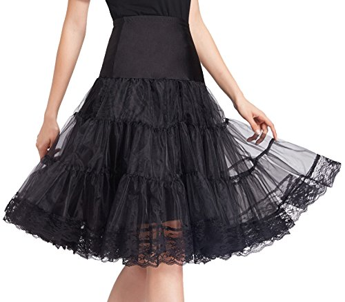Flattering Short Under Lace Skirts Full Circle (S,Black) ()