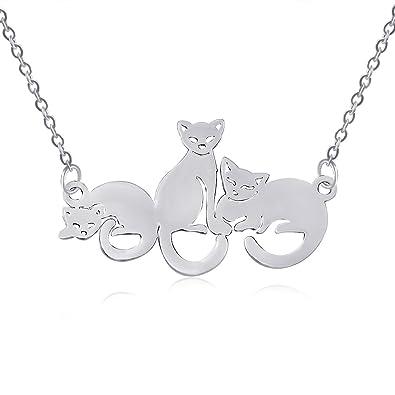 PANGRUI Exquisito Delicado Tres Gatos 3D Laser Cut Cat Colgante Collar: Amazon.es: Joyería