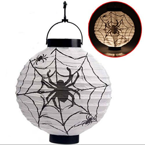 Cute White Trash Costume Ideas (AWEERTY Halloween Indoor Outdoor LED Paper Pumpkin Bat Spider Hanging Lantern Light Lamp Holiday Party Decor Paper Lantern (White))