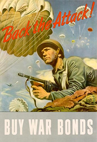 WPA War Propaganda Back The Attack Buy War Bonds WWII War Savings Motivational Poster 24x36 inch