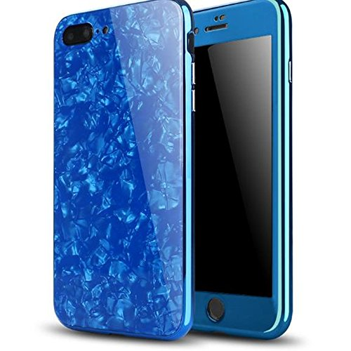 iPhone 8 Magnetic Absorption Shcokproof Case,Aulzaju iPhone 7 Full Body Front Back Cover with Tempered Glass Screen Protector Cover for iPhone 8/7 Beauty Mirror Shell Design-Blue by Aulzaju