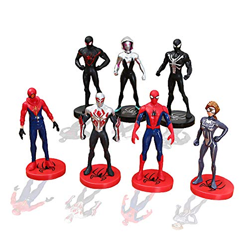 YongEnShang 7 Pieces Mini Super Heroes Action Figures,Spider-Man:Into The Spider-Verse Toy Sets to Kids Gift,Cake Decoration -
