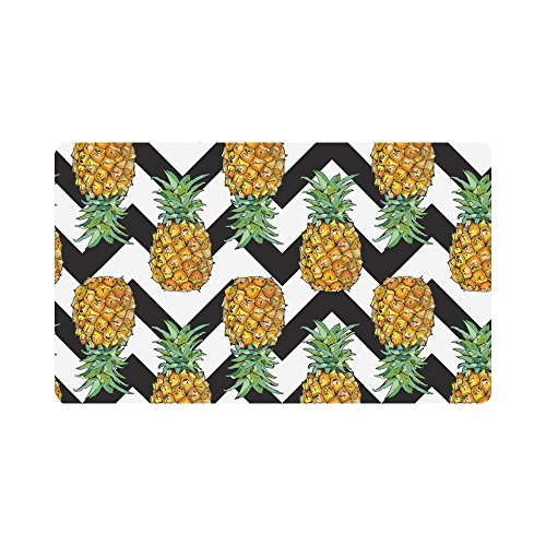 InterestPrint Pineapple Fruit Art with Chevron Pattern Doormat Indoor Outdoor Entrance Rug Floor Mats Shoe Scraper Door Mat Non-Slip Home Decor, Rubber Backing Large 30