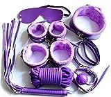 PBONL 7 pcs Tactical Restraint Handcuffs Ankle Cuffs Purple Bracelet Kits