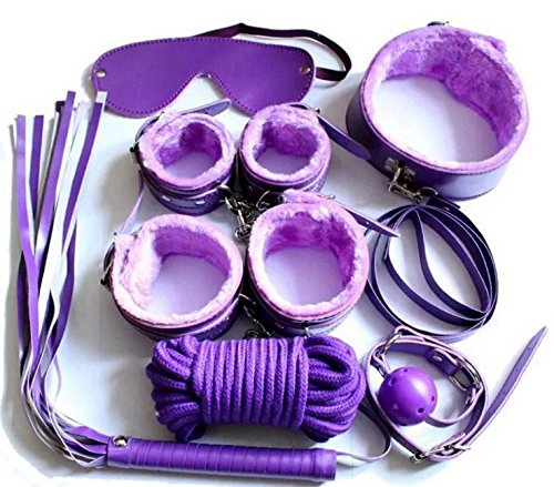 PBONL 7 pcs Tactical Restraint Handcuffs Ankle Cuffs Purple Bracelet Kits by PBONL
