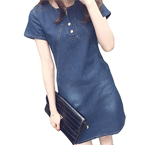 iLUGU Mature Mini Dress for Women Short Sleeve Round Collar Button Denim Plus Size Korean Ready Dinner Sexy Evening