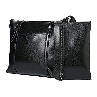 Women Bag Casual Vintage Shoulder Bag Handbags Cross Body Bag Large Capacity Brown Bags Tote Purse (Black)