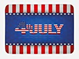 Ambesonne 4th of July Bath Mat, Independence Themed Holiday Design with United States of America Flag Pattern, Plush Bathroom Decor Mat with Non Slip Backing, 29.5 W X 17.5 W Inches, Multicolor