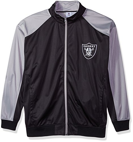 NFL Oakland Raiders Men FULL ZIP TRICOT TRACK JACK, BLK/GRY, 2XT -