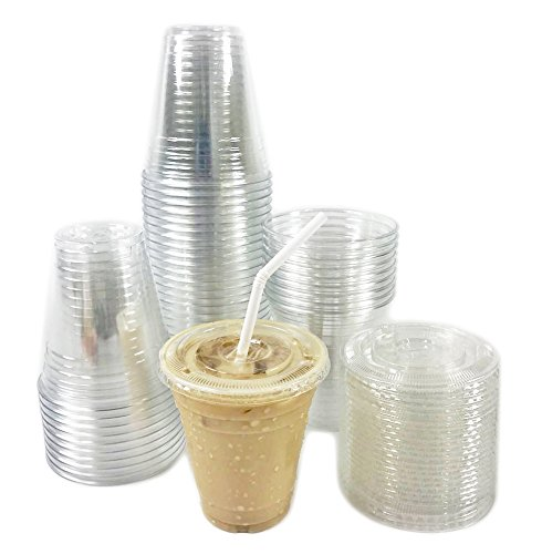 Black Cat Avenue�50 Sets 12oz Crystal Clear Disposable PET Plastic Cups with Flat Lids For Cold Drinks Iced Coffee Smoothie Iced Tea Boba Milk Tea