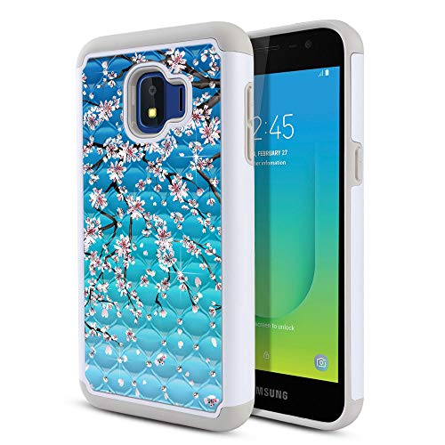 FINCIBO Case Compatible with Samsung Galaxy J2 Core J260 5 inch 2018, Dual Layer Shock Proof Hybrid Protector Case Cover TPU Rhinestone Bling for Galaxy J2 Core (NOT FIT J2) ()
