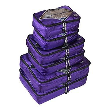 Rusoji Premium Packing Cube System - 6pc Various Size Set (Purple)