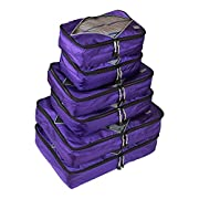 Rusoji Premium Packing Cube Travel Luggage Organizers - 6pc Various Size Set (Purple)