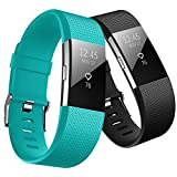 Fitbit Charge 2 Band, Hanlesi TPU Soft Silicone Adjustable Replacement Sport Strap Large and Small Band for Fitbit Charge 2 Smartwatch Heart Rate Fitness Wristband for Girl Boy Man Woman