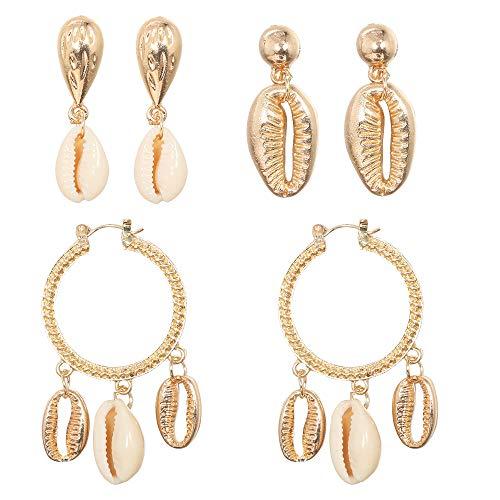 Peigen 3 Pairs of Shell Earrings Set Pearl Pendant Earrings Beach Earrings Accessories for Women ()