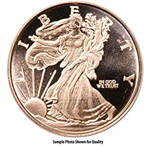 One (1) Ounce  999 Fine Copper Round: Walking Liberty