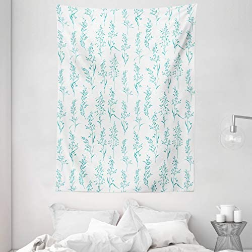 Ambesonne Floral Tapestry, Floral Pattern Moderate Essential Botanical Herbs Flower Plants Fresh Twigs Theme, Wall Hanging for Bedroom Living Room Dorm, 60 X 80 , Cream Green