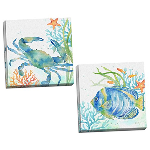 Roaring Brook Lovely Watercolor-Style Tropical Fish and Crab Underwater Set by Cynthia Coulter; Coastal Décor; Two 12x12in Hand-Stretched Canvases ()