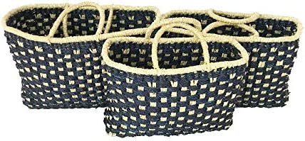 Woven Seagrass Basket Set with Handles Storage Bags Rectangle Picnic Gift Fruit Whicker Toy – Set of 3