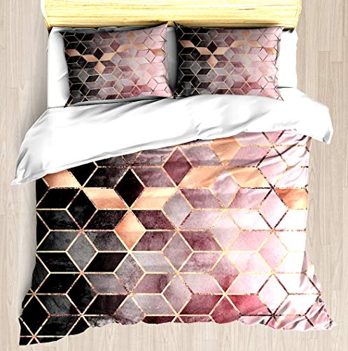 Set Cube Comforter (NTCBED Pink and Grey Gradient Cubes - Duvet Cover Set Soft Comforter Cover Pillowcase Bed Set Unique Printed Design Duvet Covers Blanket Cover Queen/Full Size)