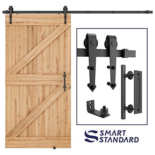 SmartStandard 8ft Heavy Duty Sliding Barn Door Hardware Kit, 8ft Single Rail, Black, (Whole Set Includes 1x Pull Handle Set & 1x Floor Guide) Fit 48