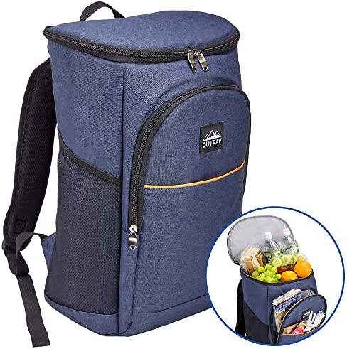Outrav Blue Camping Backpack Cooler Fully Insulated Cooling Bag with 3 Zippered Compartments and 2 Mesh Pockets 28 Can Capacity