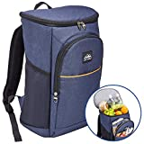 Outrav Blue Camping Backpack Cooler – Fully Insulated Cooling Bag with 3 Zippered Compartments and 2 Mesh Pockets – 28 Can Capacity