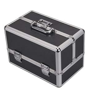 Black Lockable Handle Aluminum Cosmetic Makeup Case