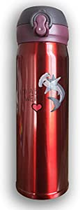 CC COLL Hammerhead Bull Shark 500Ml Stainless Steel Water Bottle,Double Wall Vacuum Insulated Leakproof Thermos,Travel Mug,with Bounce Cover,Black