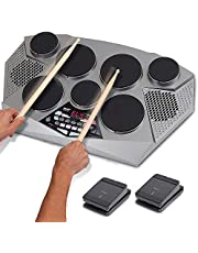 Pyle Pro Electronic Drum kit - Portable Electric Tabletop Drum Set Machine with Digital Panel, 7 Drum Pad, Hi-Hat/Kick Bass Pedal Controller USB AUX -Tom Toms, Hi Hat, Snare Drums, Cymbals - PTED06