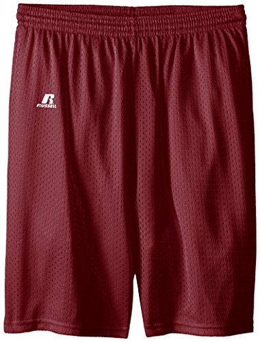 Russell Athletic Big Boys' Youth Mesh Short, Maroon, Medium