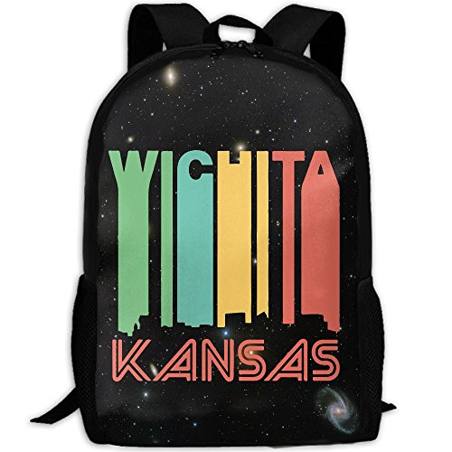Retro 1970's Style Wichita Kansas Skyline Unique Outdoor Shoulders Bag Fabric Backpack Multipurpose Daypacks For - Sunglasses Wichita