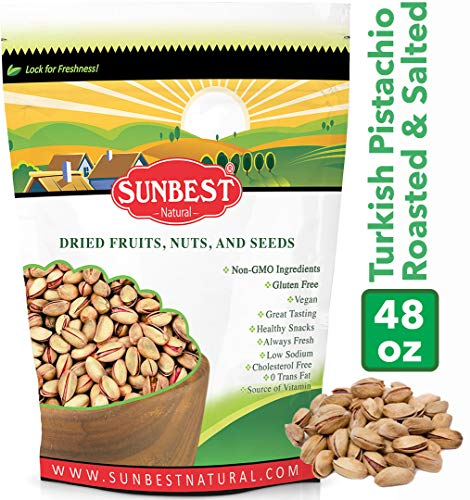 SUNBEST TURKISH PISTACHIOS ANTEP ROASTED AND SALTED IN RESEALABLE BAG (3 Lb)