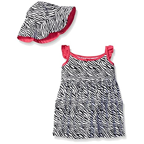Gerber Little Girls Toddler Two-Piece Sundress and Hat Set, Zebra, 4T