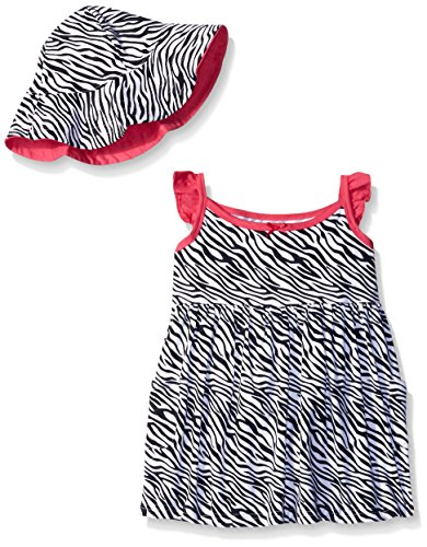 Gerber Little Girls' Toddler Two-Piece Sundress and Hat Set, Zebra