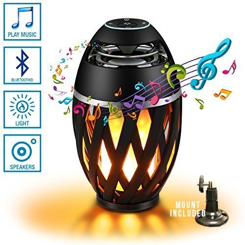 NULED Flame Speake IP65 Waterproof Outdoor Atmosphere LED Stereo Speaker w. 3600mAh/3.7V Rechargeable Batteries for Deck, Patio, Parties, Pair 2 speakers for Surround Sound