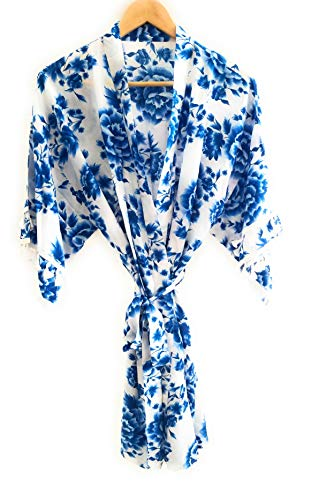 Ella Winston Blue Rose Cotton Floral Getting Ready Kimono Style Bridal Robe with Tassel Accent Sleeves