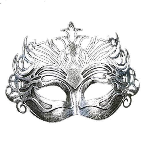 ANATYU Roman Vintage Gladiator Christmas Halloween Golden Silver Masquerade Mask (Silver)]()