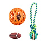 Christmas Ball Toys Set for Dogs (3 Pack) ,Rope Dog Ball Toy & Orange Hollow Treat Ball & Football Squeaky Toys for Medium Dogs,Dog Chew Toys Gift