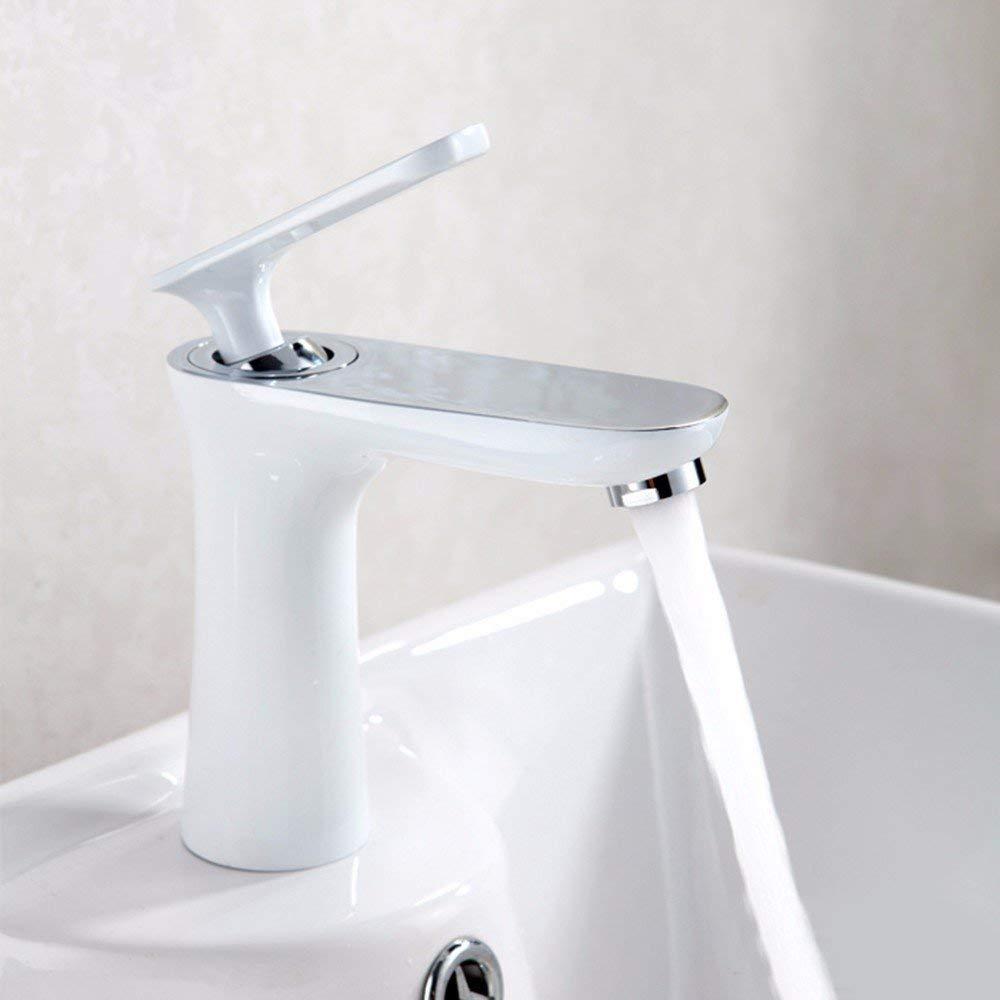 JingJingnet 洗面器ミキサータップ浴室のシンクの蛇口ハイエンドフル銅エナメルホワイトホット&コールド洗面器の蛇口、洗面台の浴室のカウンター盆地のタップ、 (Color : A) B07R2JTZRP A