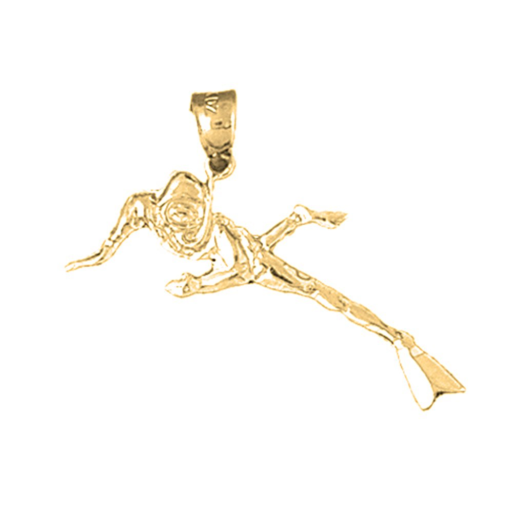 Jewels Obsession Scuba Diver Necklace 14K Yellow Gold-plated 925 Silver Scuba Diver Pendant with 18 Necklace