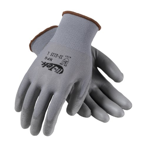 G-Tek NPG 33-G125/S Seamless Knit Nylon Glove with Polyurethane Coated Smooth Grip on Palm and Fingers ()
