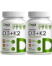 Vitamin D3 K2 Softgel, 180 Counts, 2-1 Complex, Vitamin D3 5000 IU & Vitamin K2 MK7 MK4, Promotes Heart, Bone & Teeth Health - Very Easy to Swallow (Pack of 2)