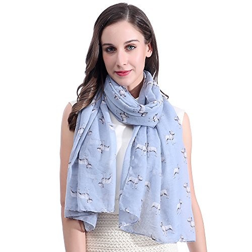 (Lina & Lily Bull Terrier Dog Print Large Scarf Lightweight (Light Blue))